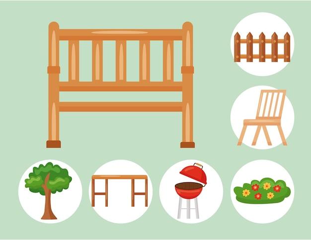 緑の背景に設定されたベンチと庭のアイコン