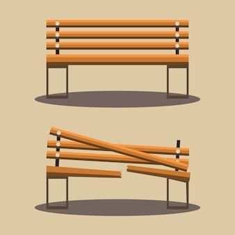 Bench and broken bench vector
