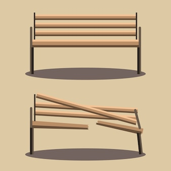 Bench and broken bench vector
