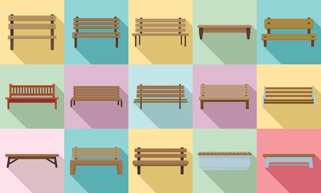 Bench icons set, flat style