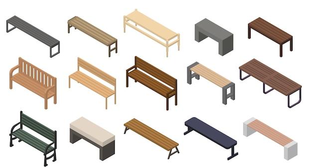 Bench icons set, isometric style