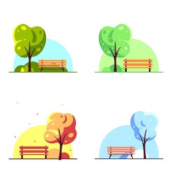 白で隔離の木と都市公園のベンチ。フラットスタイルの季節のイラストのセットです。