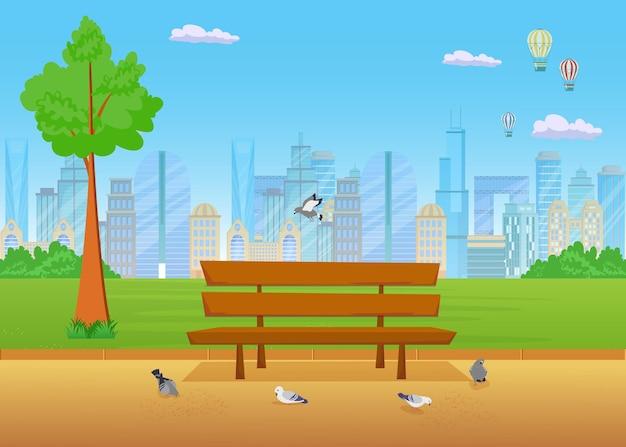 Скамейка в парке плоской иллюстрации