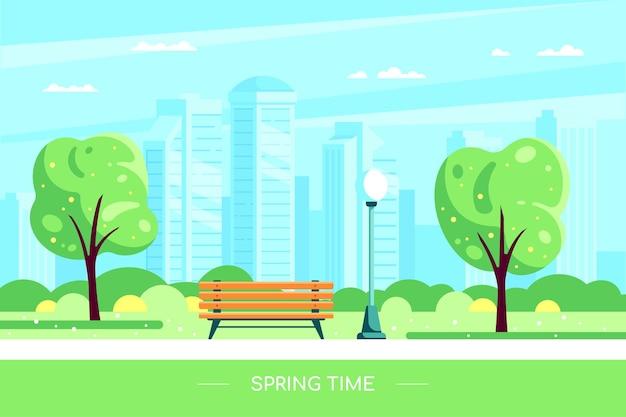 春の都市公園のベンチ。花の咲く木と大都市を背景に春の都市公園のイラスト。フラットスタイルのハロースプリングコンセプト。