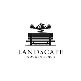 Bench and mountain nature illustration logo