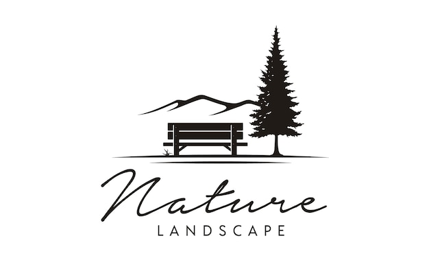 Bench and nature illustration logo