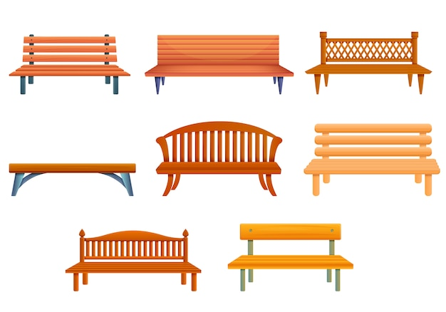 Bench set, cartoon style