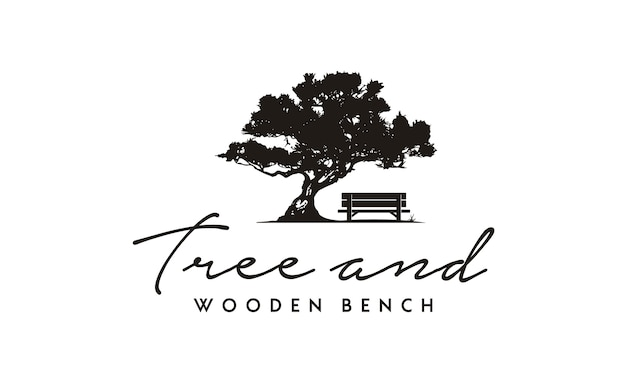 Bench and tree illustration logo design