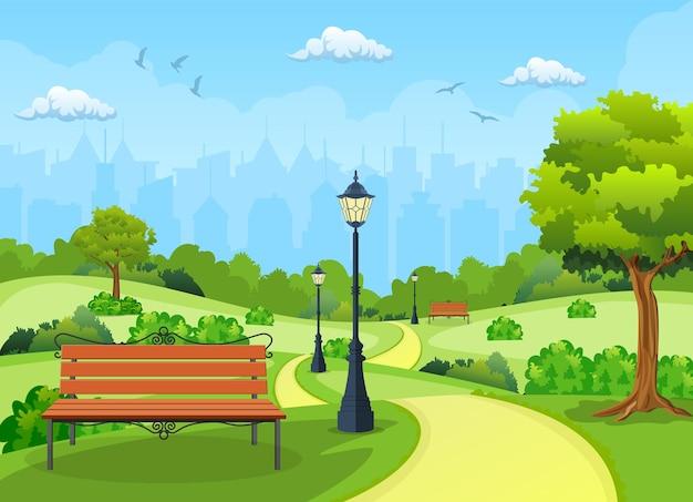 公園の木とランタンのあるベンチ。
