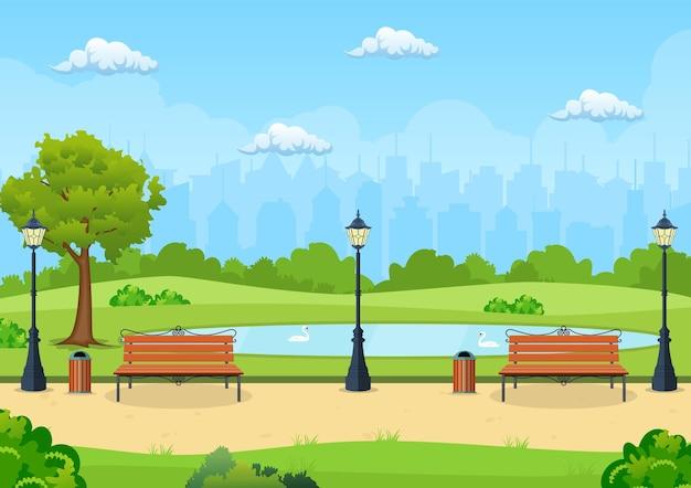 公園の木とランタンのあるベンチ