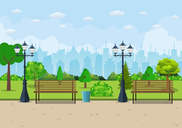 Скамейка с деревом и фонарем в парке