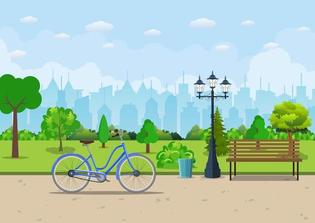 公園の木、自転車、ランタンのあるベンチ