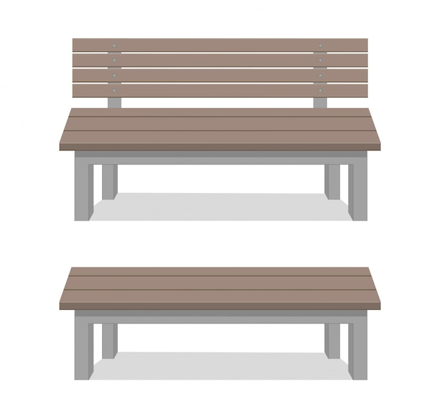 Benches isolated on white background. wooden construction.