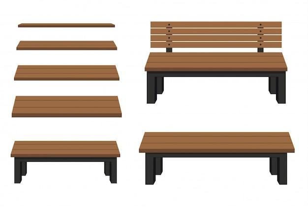 흰색 배경에 벤치입니다. illustration.wooden 건설입니다.