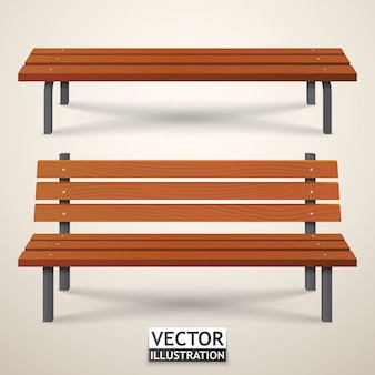 Benches set. park wooden benches isolated