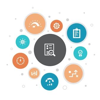 ベンチマークインフォグラフィック10ステップバブルデザイン。パフォーマンス、プロセス、管理、インジケーターのシンプルなアイコン