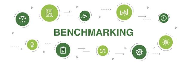 ベンチマークインフォグラフィック10ステップサークルデザイン。プロセス、管理、インジケーターのシンプルなアイコン