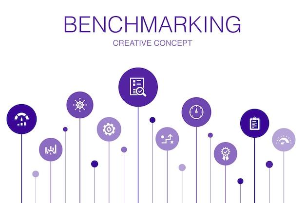 ベンチマークインフォグラフィック10ステップテンプレート。プロセス、管理、インジケーターのシンプルなアイコン