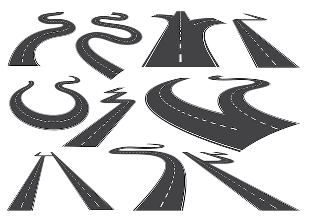 Bending roads, high ways or roadways.
