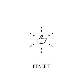 혜택 개념 라인 아이콘입니다. 간단한 요소 그림입니다. 혜택 개념 개요 기호 디자인입니다. 웹 및 모바일 ui/ux에 사용할 수 있습니다.