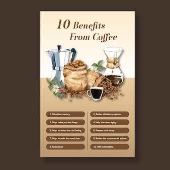 Benefit from coffee, healthy coffee arabica roast maker, infographic watercolor illustration