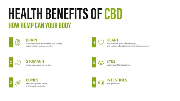 Benefits of cbd for your body, white poster with infographic. health benefits of cannabidiol cbd from cannabis, hemp, marijuana, effect on body