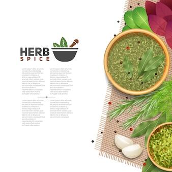 Benefici di erbe e spezie in cucina poster informativo con testo mortaio e pestello