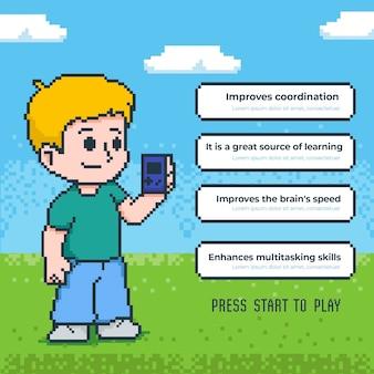 Преимущества игры в шаблон видеоигр с мальчиком