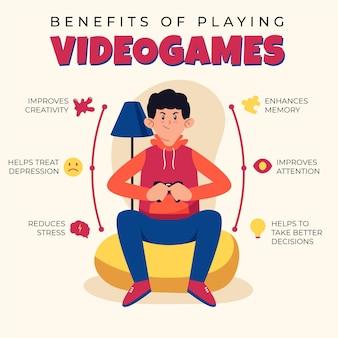 Vantaggi del gioco concetto infografica videogioco
