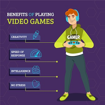 Benefits of playing videogame infographic