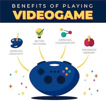 Vantaggi della riproduzione di infografica per videogiochi Vettore gratuito