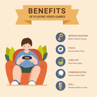 Benefits of playing videogames template with boy