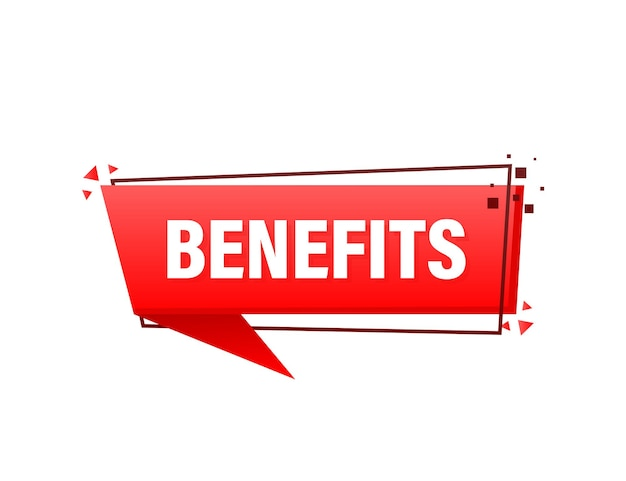 Benefits red banner in 3d style on white