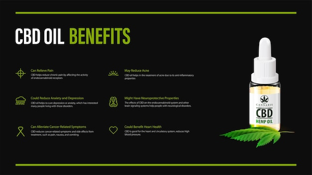 Benefits of use cbd oil, black poster design with infographic and glass bottle of cbd oil