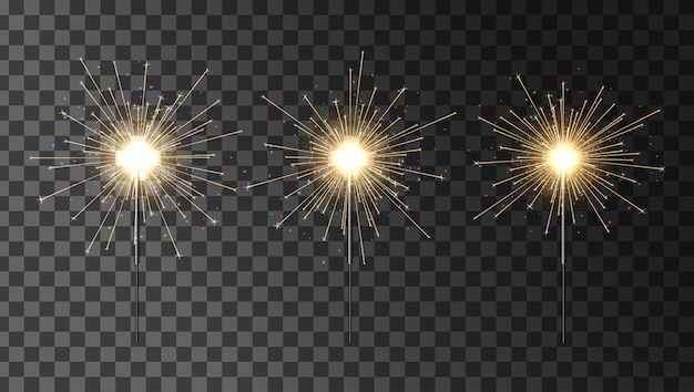 Бенгальский огонь установлен. набор бенгальских огней. элемент освещения украшения sparkler.