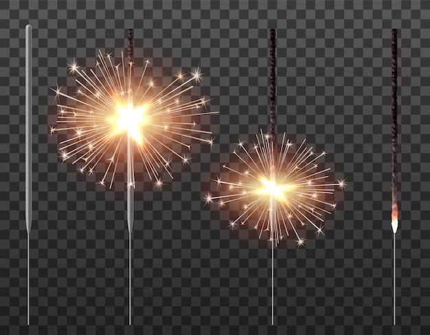Bengal light christmas sparkler realistic illustration