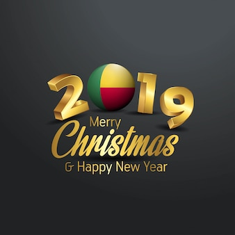 Benin flag 2019メリークリスマスタイポグラフィー
