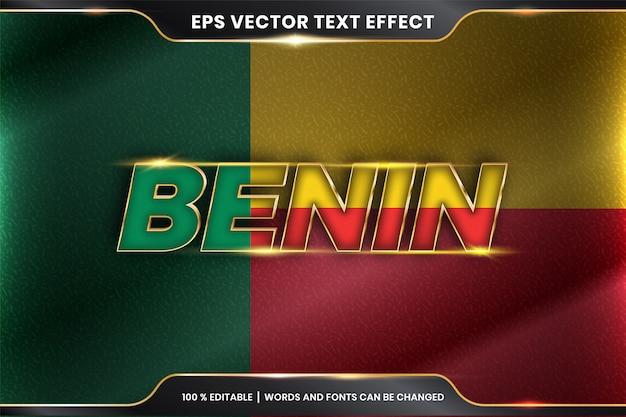 Бенин с национальным флагом страны, редактируемый эффект текста в стиле золотого цвета