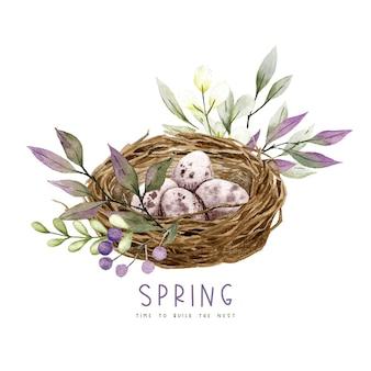 卵、花と緑、イースターの装飾、春の水彩イラストとひげの巣