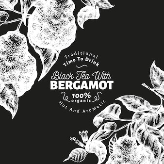 Bergamot branch design template. kaffir lime frame. hand drawn vector fruit illustration on chalk board. engraved style retro citrus background.