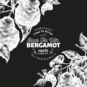 ベルガモット支店デザインテンプレート。カフィアライムフレーム。手は、チョークボードにベクトルフルーツイラストを描いた。刻まれたスタイルのレトロな柑橘類の背景。