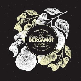 Bergamot branch design template.