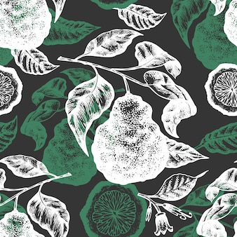 Bergamot branch seamless pattern.