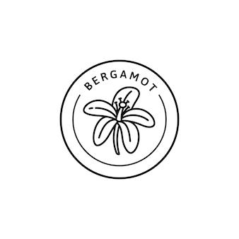 트렌디한 선형 스타일의 베르가못 꽃 아이콘입니다. 포장 디자인 서식 파일 및 상징의 벡터 유기농 베르가못 배지. 흰색 배경에 고립. 차, 화장품, 의약품