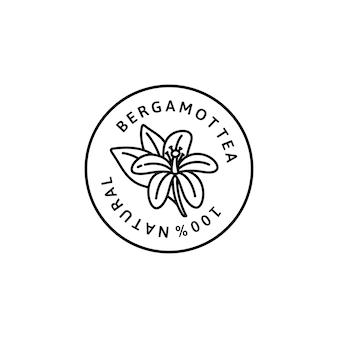 트렌디한 선형 스타일의 베르가못 꽃 차 아이콘입니다. 포장 디자인 서식 파일 및 상징의 벡터 유기농 베르가못 배지. 흰색 배경에 고립. 차, 화장품, 의약품
