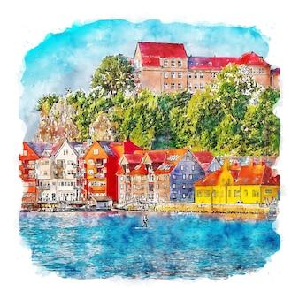 Bergen norway watercolor sketch hand drawn illustration