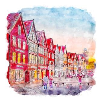 베르겐 스웨덴 수채화 스케치 손으로 그린 그림