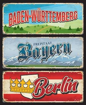 베를린, 바이에른, 바덴 뷔 르템 베르크 독일 주가 금속판에 착륙