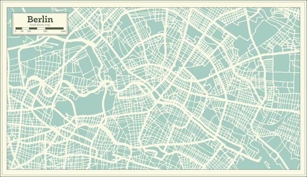 Карта города берлин германия в стиле ретро. контурная карта. векторные иллюстрации.