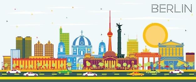 Горизонты города берлин германия с цветными зданиями и голубым небом. векторные иллюстрации. деловые поездки и концепция туризма с исторической архитектурой. городской пейзаж берлина с достопримечательностями.